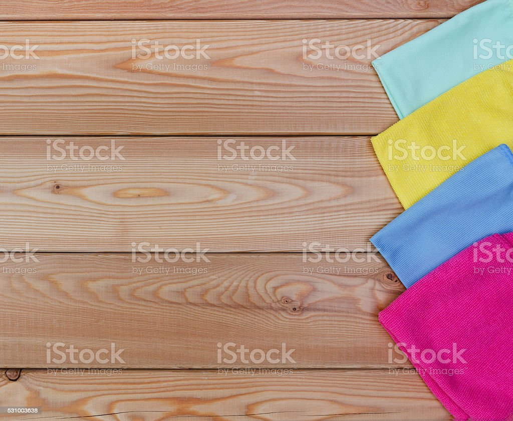 Multicoloured rags for cleaning a top view stock photo