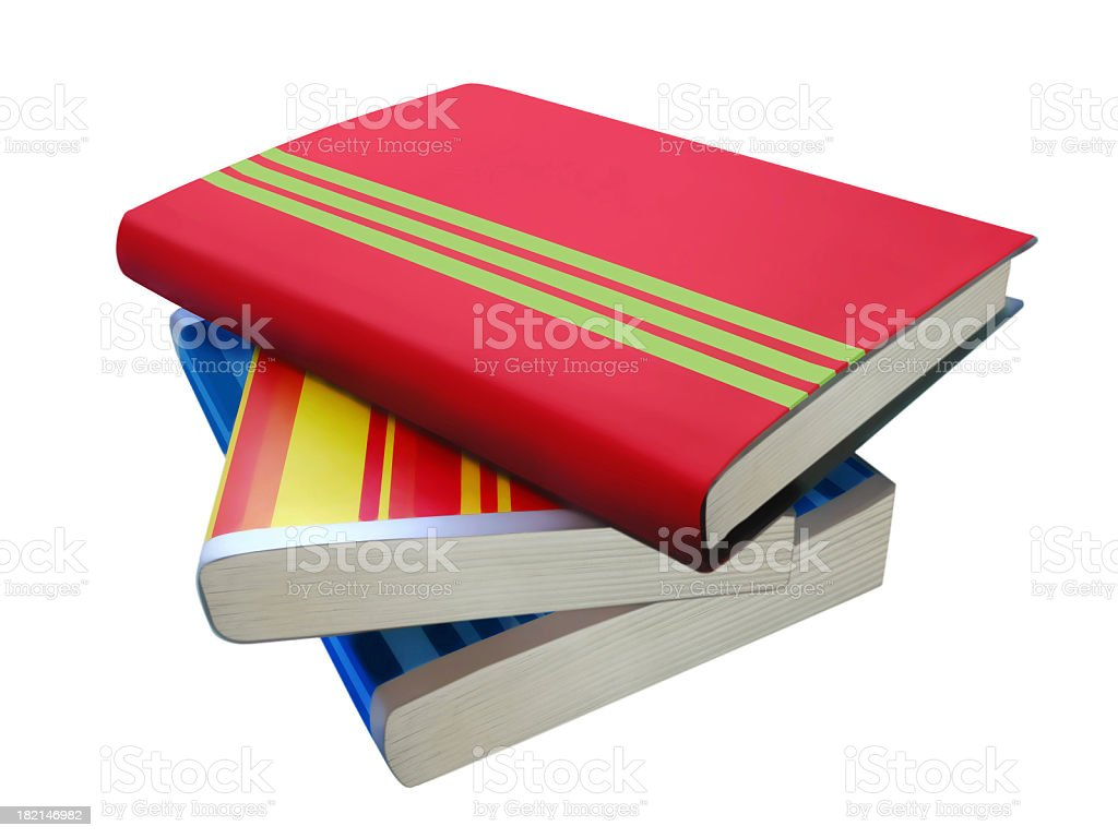 Multicoloured stripy books - Isolated on white royalty-free stock photo