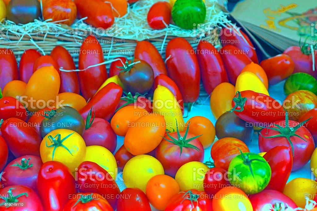 Multicoloured tomatoes stock photo