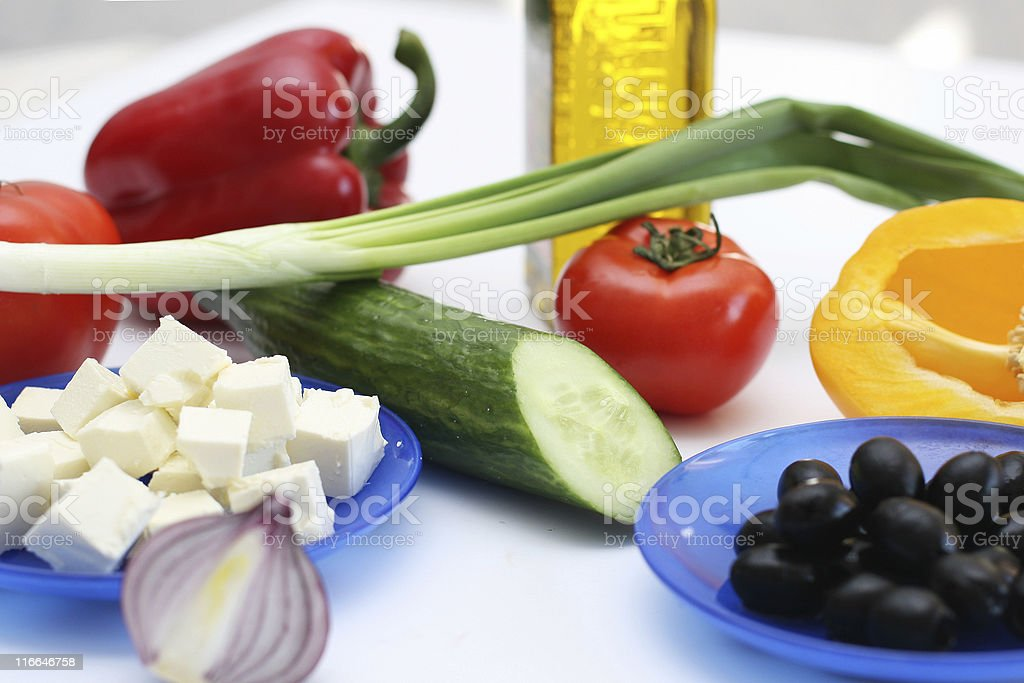 Multi-coloured vegetables for salad royalty-free stock photo