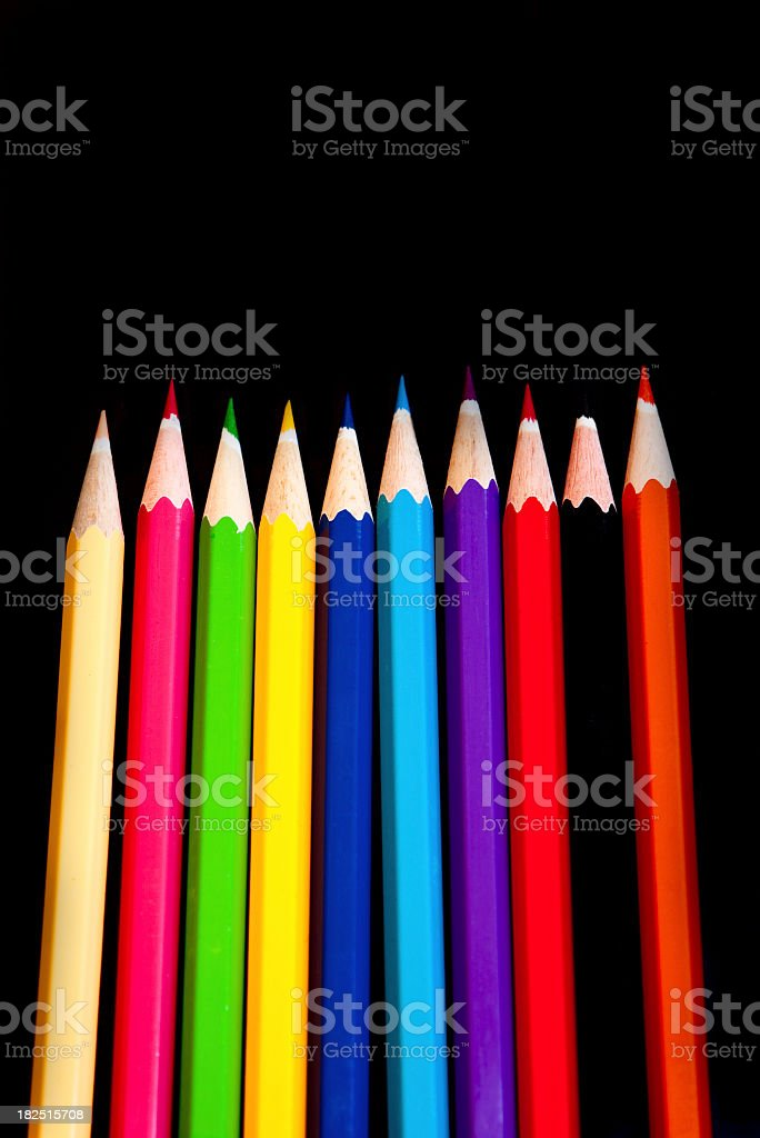 multicoloured wooden art pencils on black background royalty-free stock photo