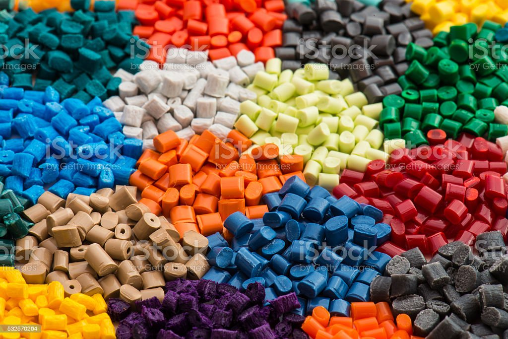 multicolrored plastic resins stock photo