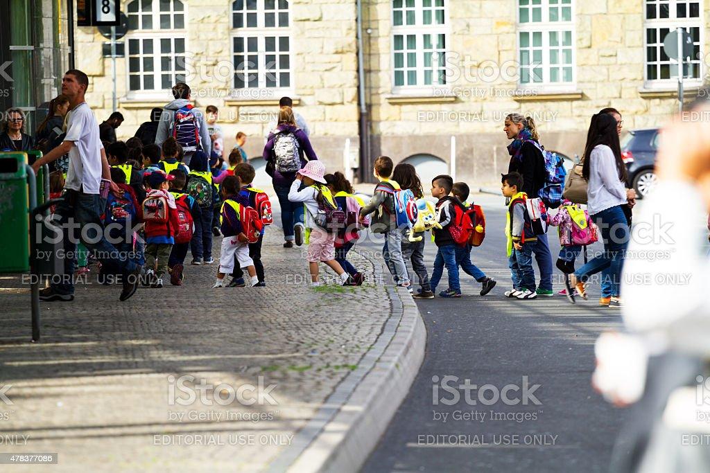Multicultual group of kindergarden kids in Ruhrgebiet stock photo