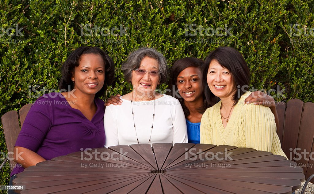 Multi-cultural and  generational women stock photo