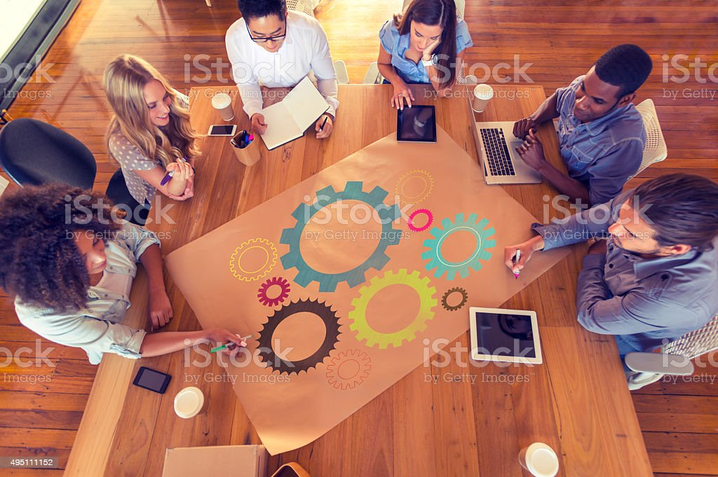 Multicultural business group meeting. stock photo