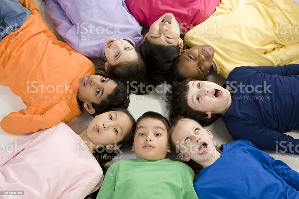 Multicultural Children Make Funny Faces royalty-free stock photo