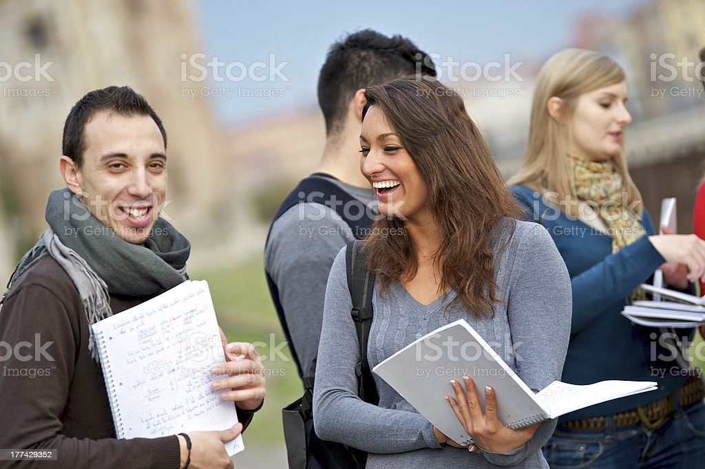 Multicultural College Students at Park royalty-free stock photo