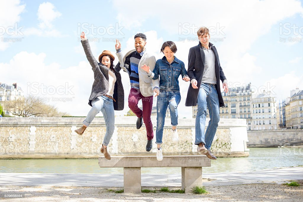 Multi-Cultural Friends in Paris France stock photo