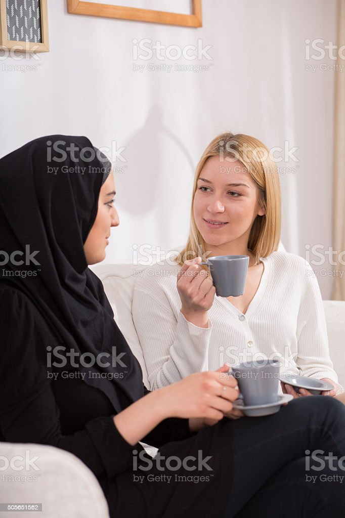 Multicultural friendship beetween girls stock photo