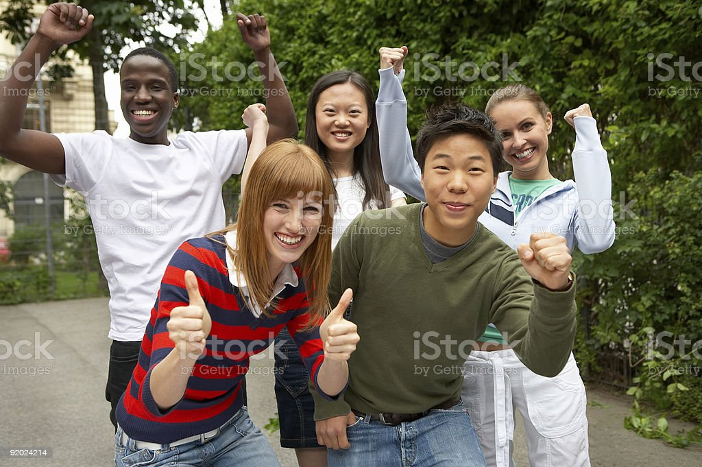 multicultural go-ahead stock photo