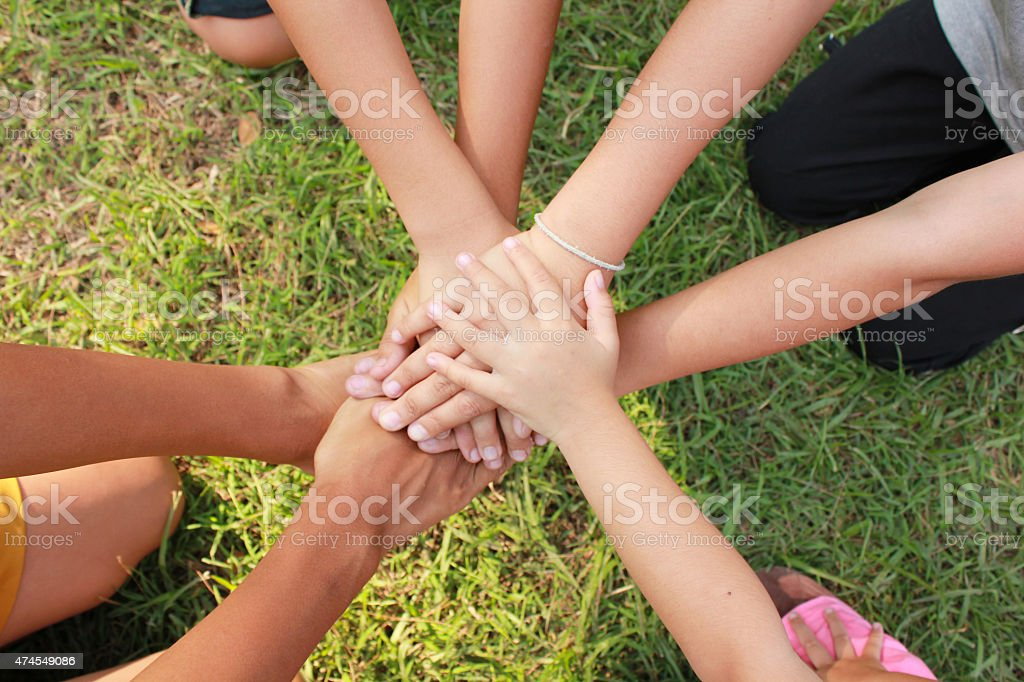 Multicultural hands stock photo