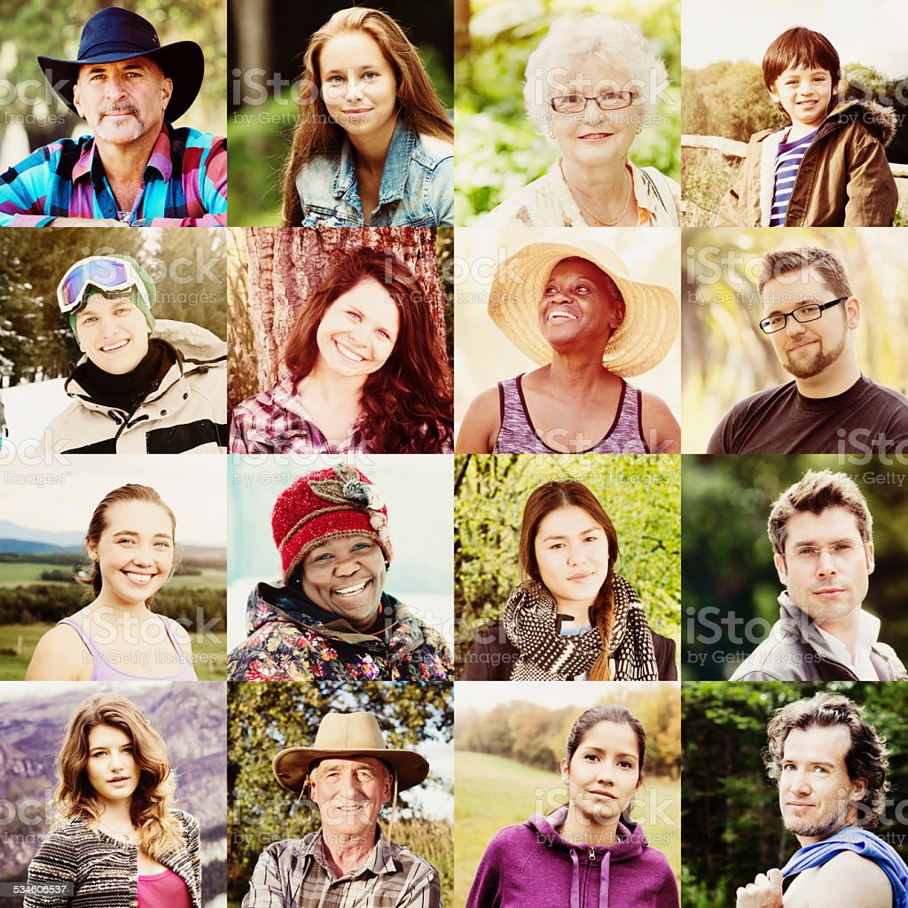 Multicultural people faces collage shot outdoors all seasons stock photo