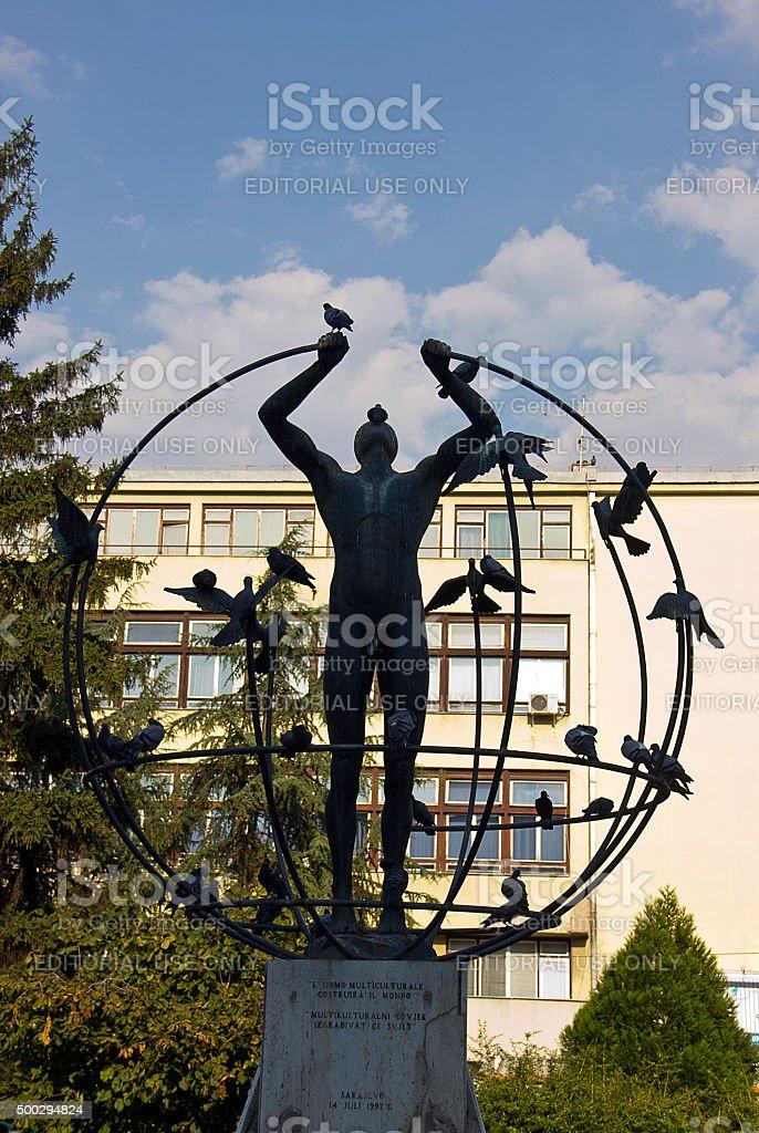 Multiculturalism statue stock photo