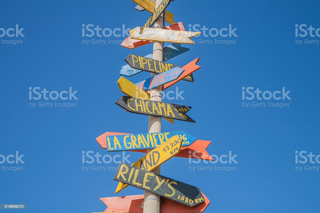 multidirectional guidepost stock photo