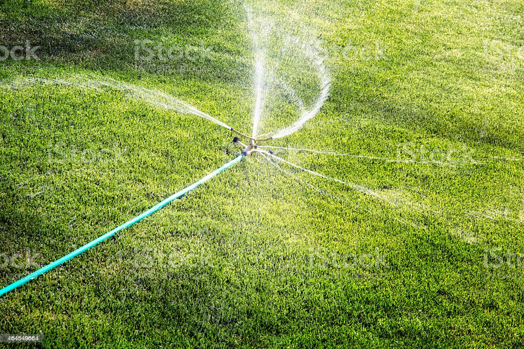 Multi-directional lawn sprinkler in action stock photo