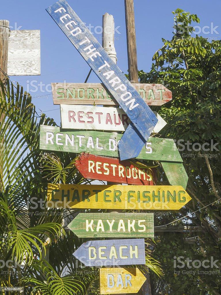 Multidirectional sign in the Florida Keys stock photo