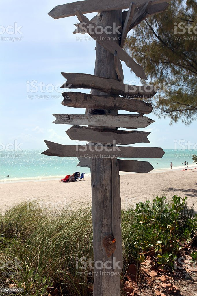 Multi-directional sign on tropical beach.  Copy space on wood. stock photo