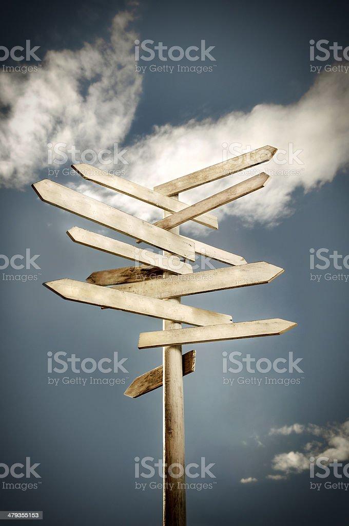 Multidirectional Wood Signpost stock photo