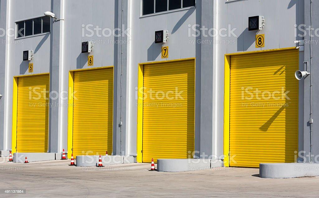 Multi-Door Garage stock photo