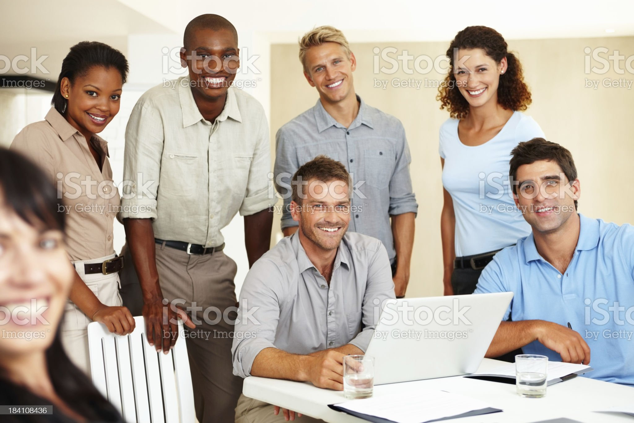Multi-ethnic business group smiling royalty-free stock photo