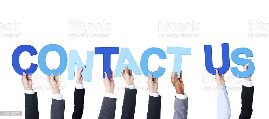 Multiethnic Business People Holding Contact Us stock photo