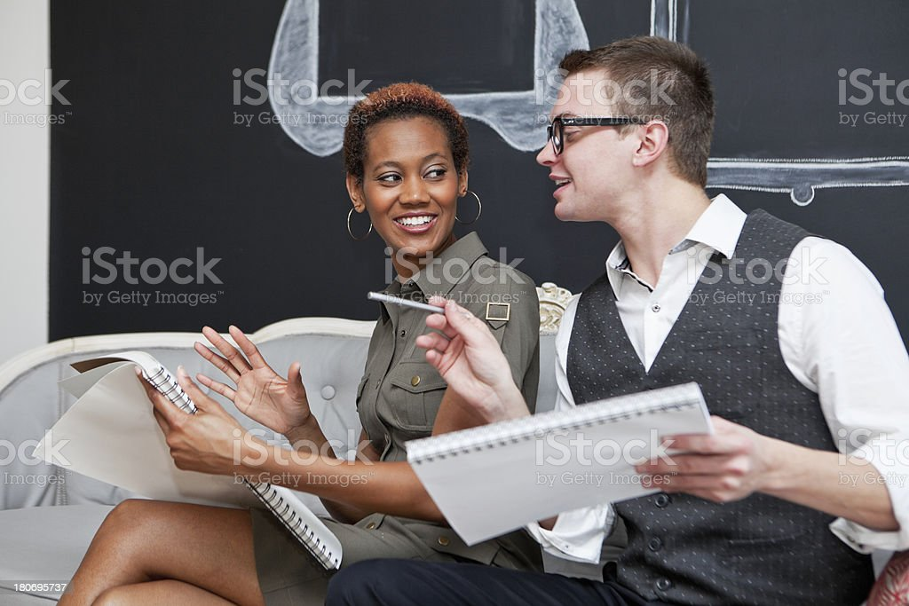 Multi-ethnic businsess people collaborating stock photo