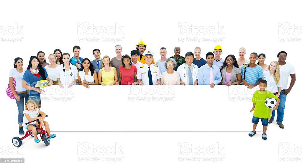 Multi-ethnic casual people holding the board royalty-free stock photo