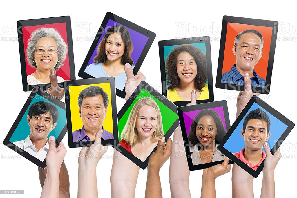 Multi-ethnic casual people on the screen royalty-free stock photo
