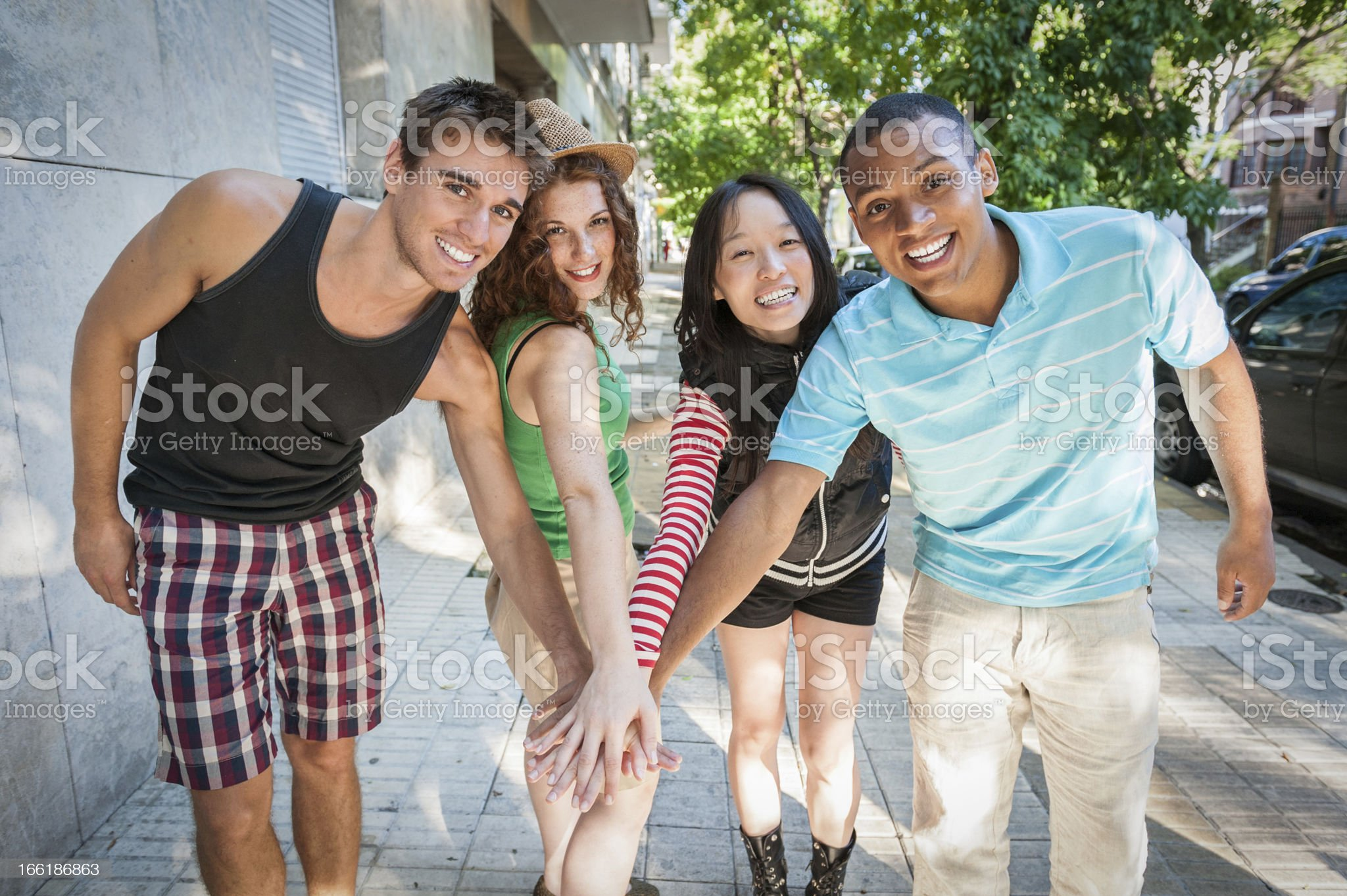 Multi-ethnic cheerful friends royalty-free stock photo