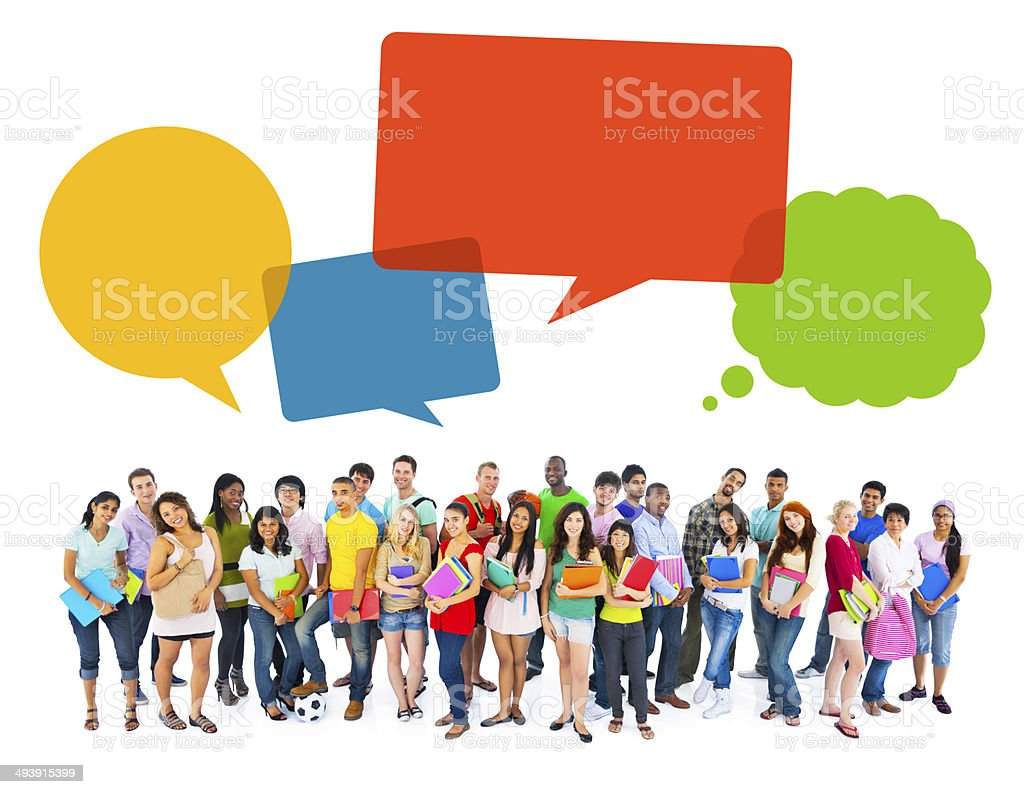 Multiethnic Cheerful Students with Speech Bubbles stock photo