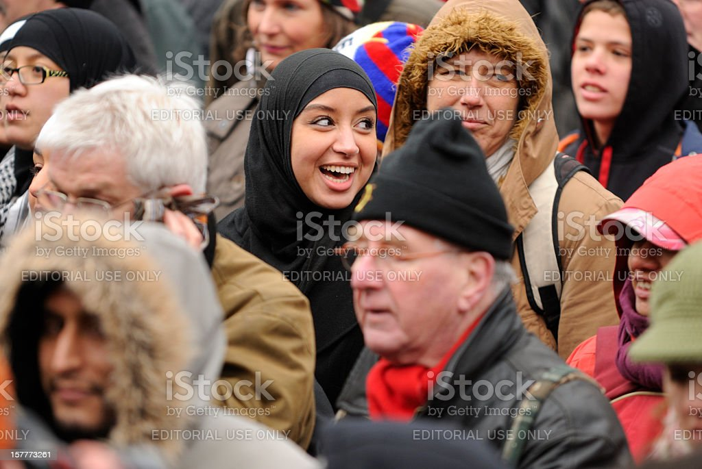 Multi-ethnic crowd participating in an anti-racism protest royalty-free stock photo