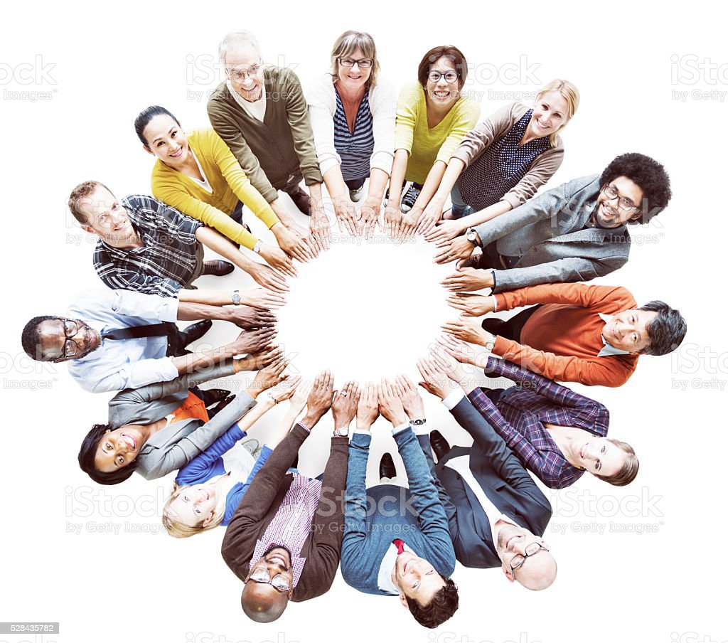 Multi-ethnic Diverse Group of People In Circle Concept stock photo