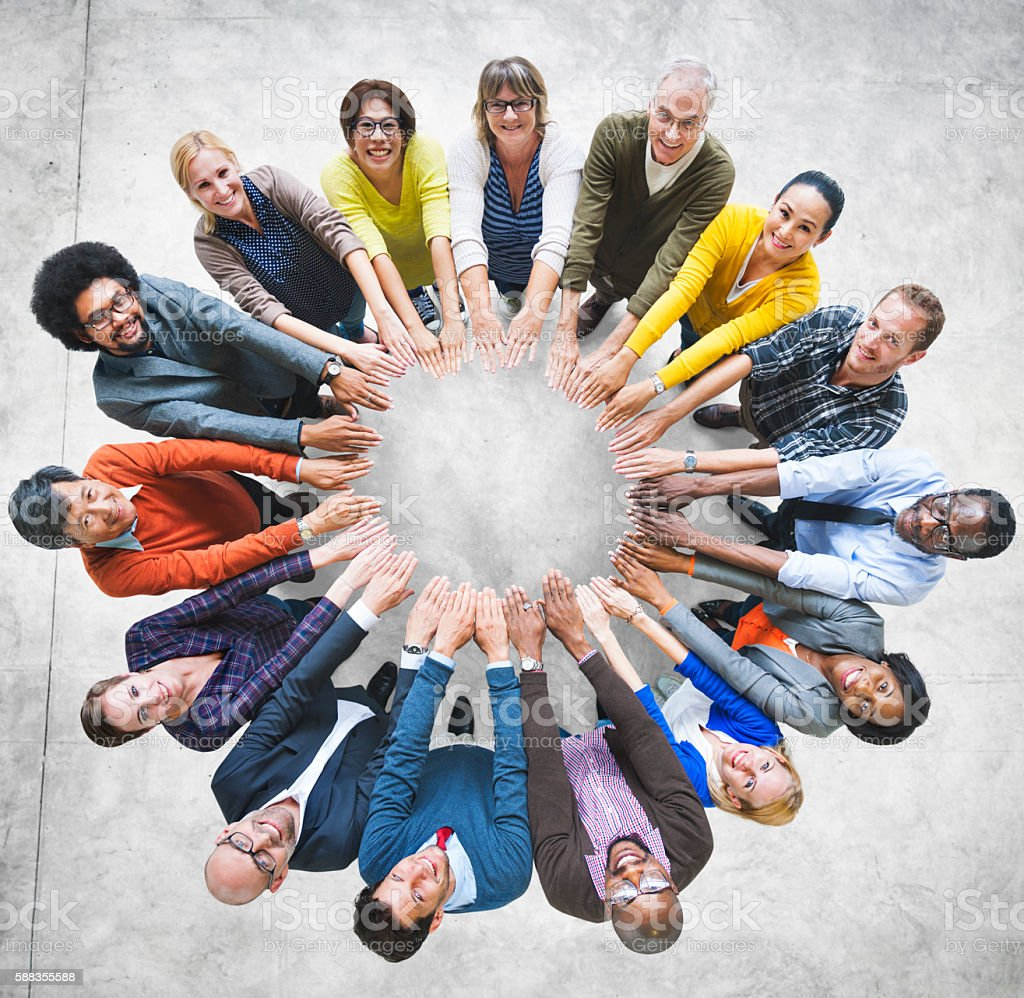 Multi-Ethnic Diverse Group People Circle Variation Concept stock photo