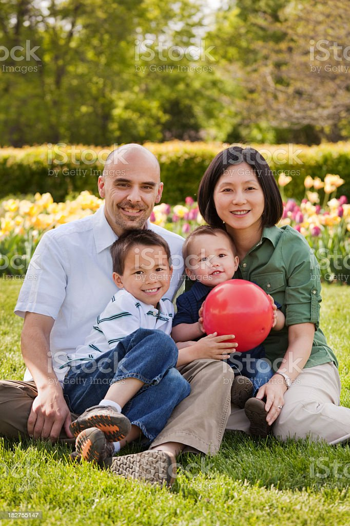 Multi-Ethnic Family of Four Casual Outdoor Portrait on Grass Lawn royalty-free stock photo