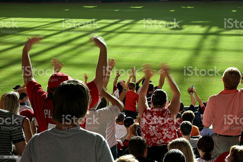 Multi-ethnic fans standing, cheering in stands. Baseball, soccer stadium. stock photo