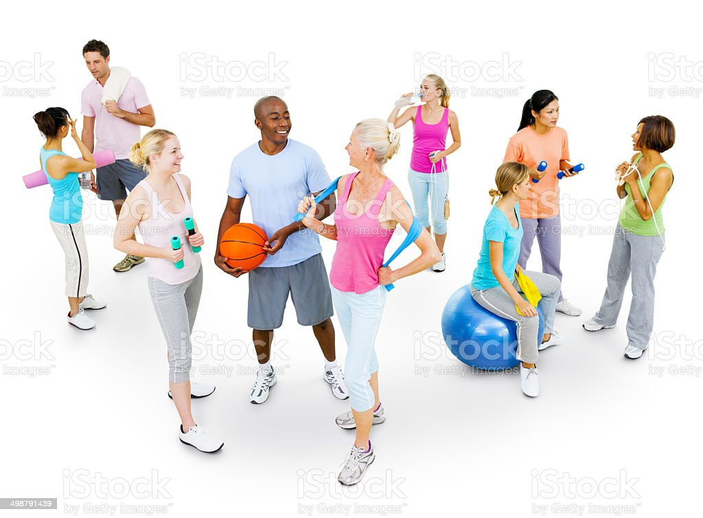 Multiethnic Fitness Group stock photo