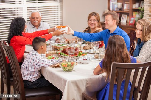 Multiethnic Generation Family Enjoys Thanksgiving Dinner ...