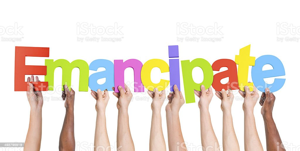 Multiethnic Group Arms Raised with Emancipate Concepts stock photo