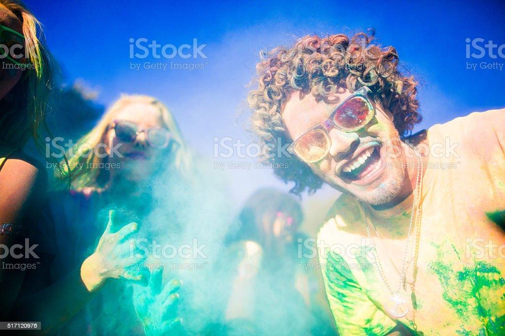 Multi-Ethnic Group Celebrating Holi Festival in Park stock photo