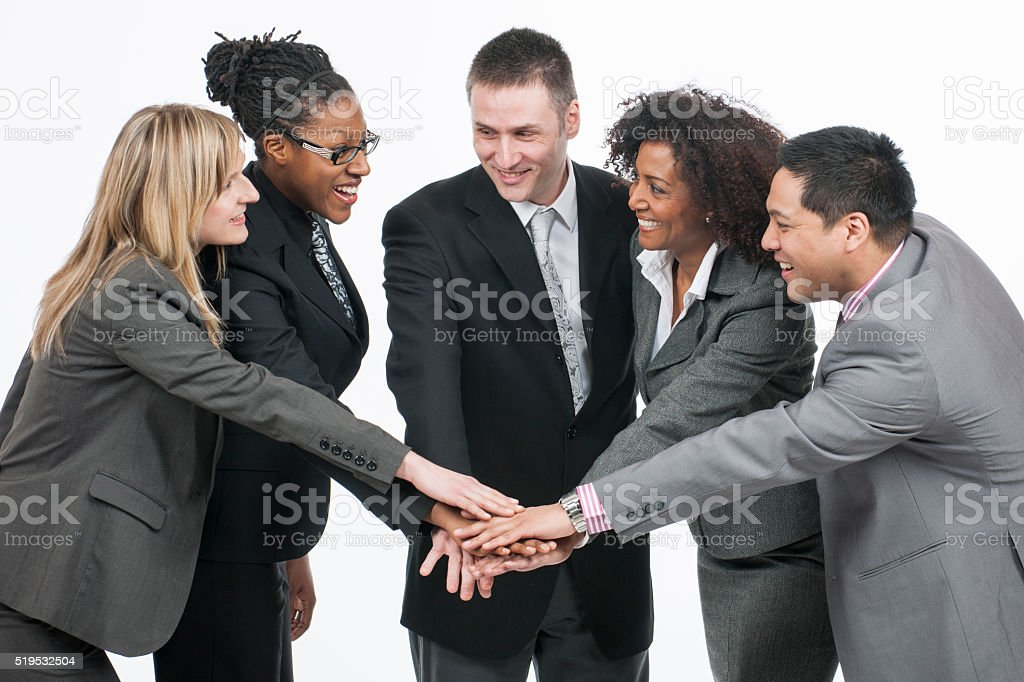 A multi-ethnic group of businessmen and businesswomen stock photo