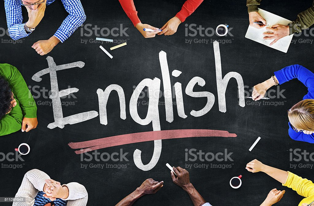 Multiethnic Group of Children and English Concept stock photo