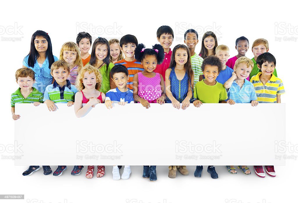 Multiethnic Group of Children Holding Empty Billboard stock photo