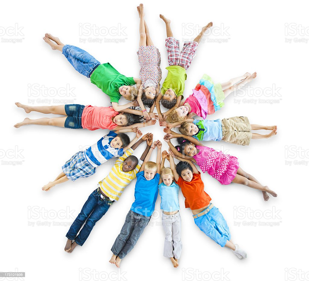 Multi-ethnic group of children in a circle royalty-free stock photo