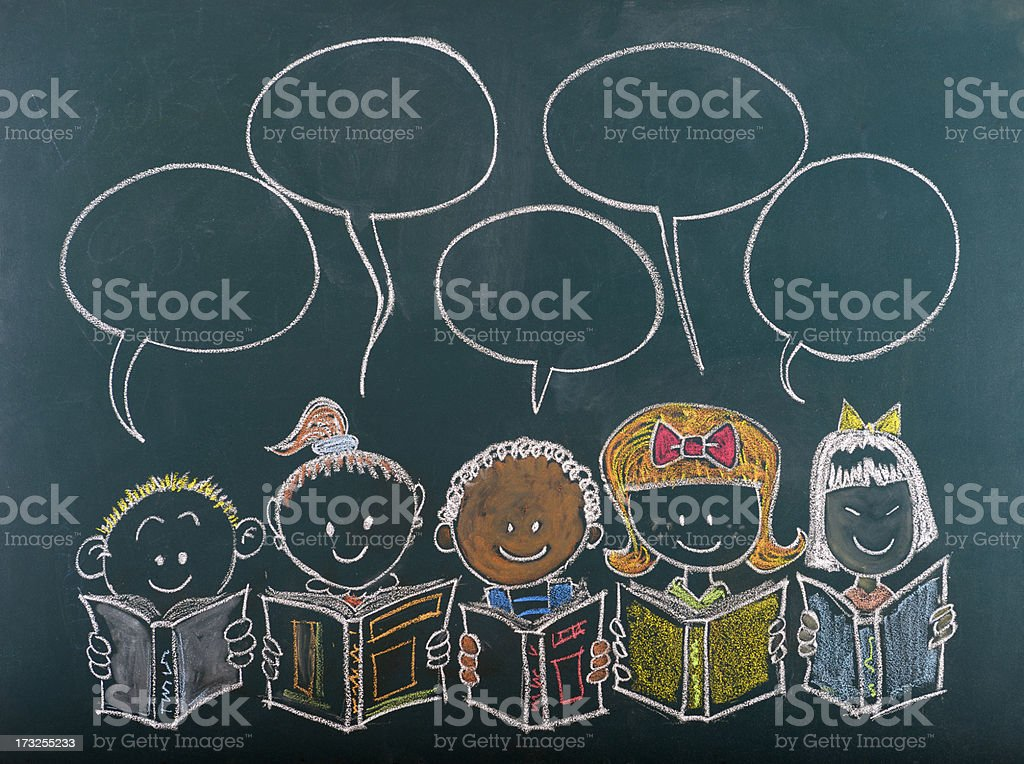 Multi-Ethnic Group of Children Sketched on Blackboard royalty-free stock vector art
