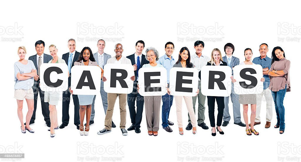 Multiethnic Group Of Diverse People Holding Word Careers stock photo