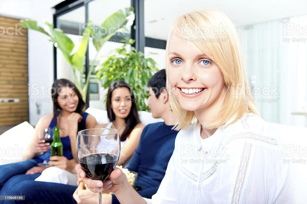 Multiethnic group of friends having fun stock photo