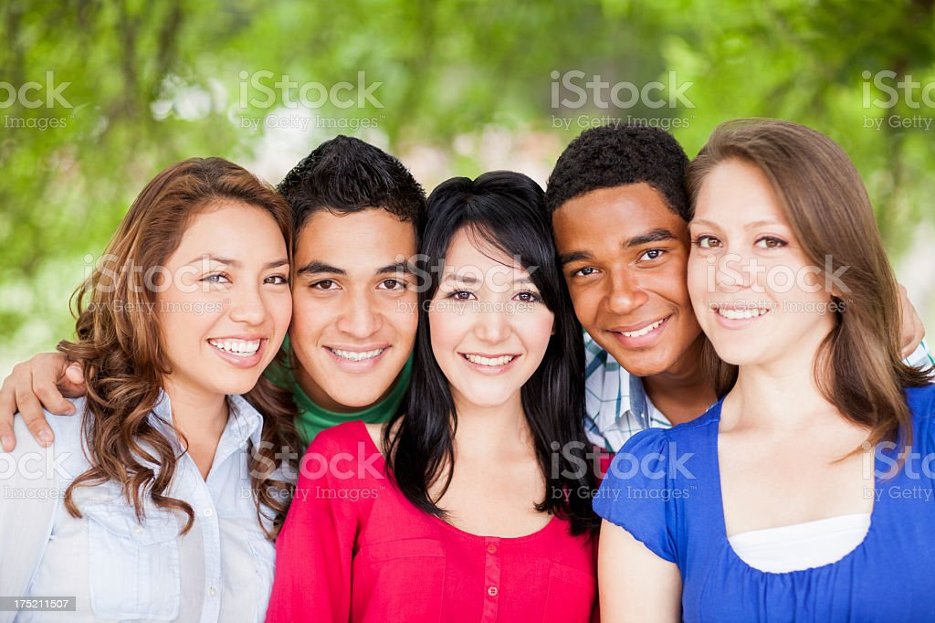 Multi-ethnic group of friends royalty-free stock photo