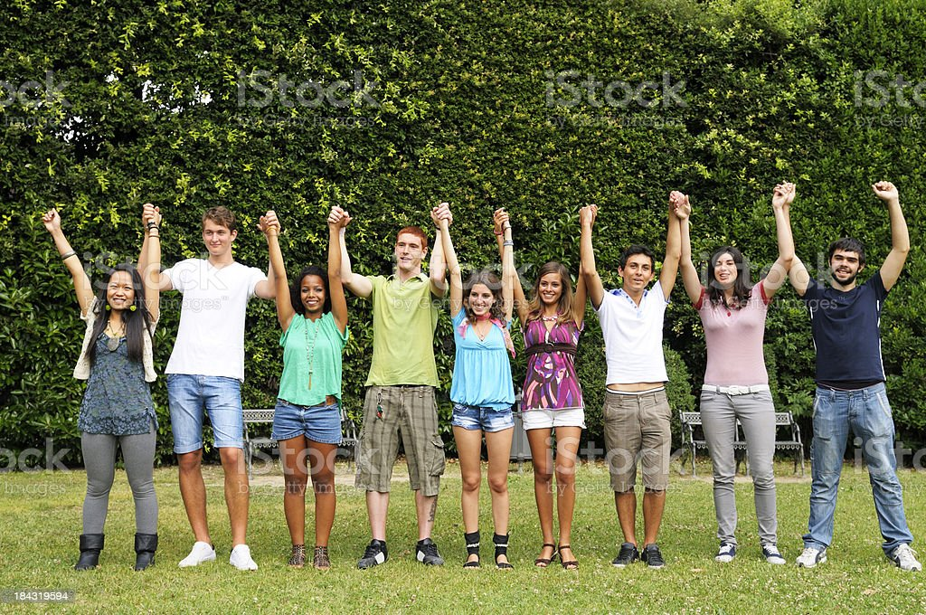 Multi-Ethnic Group of Happy Students in a Campus royalty-free stock photo