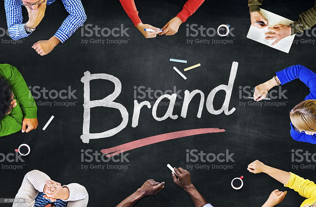 Multiethnic Group of People and Brand Concept stock photo