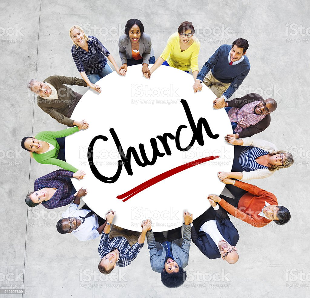 Multiethnic Group of People and Church Concepts stock photo